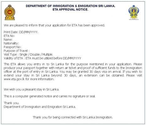 Visto Sri Lanka - Online ETA