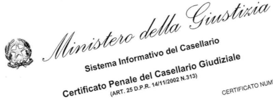 Certificato Casellario Giudiziale